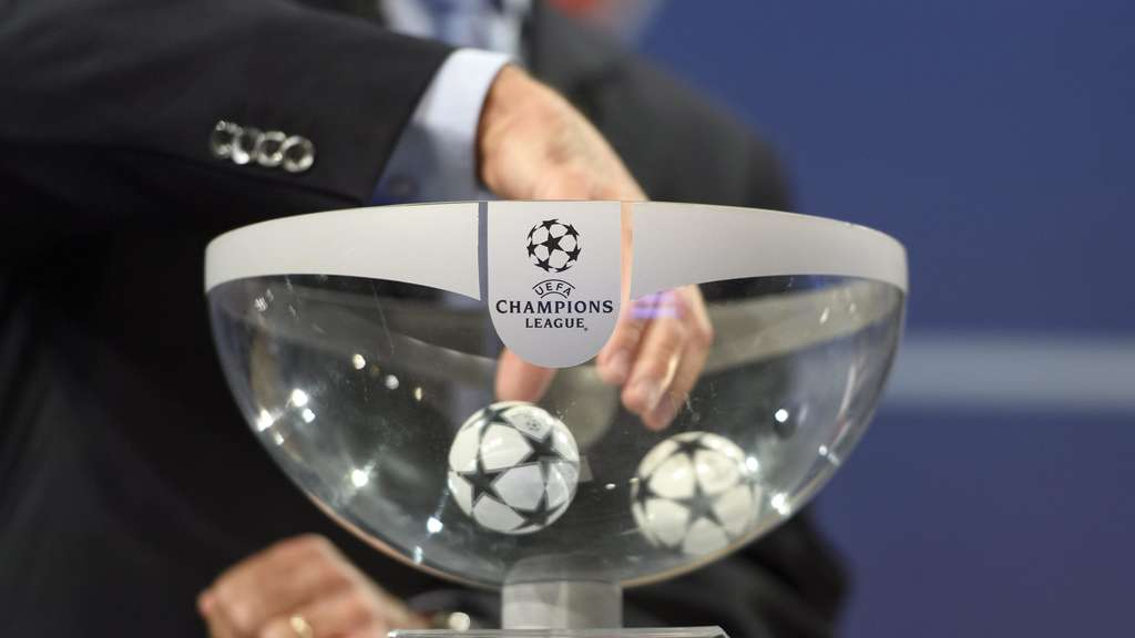 UEFA Competitions Director Marchetti are pictured during the draw of the play-offs games of UEFA Champions League 2016/17 play-offs